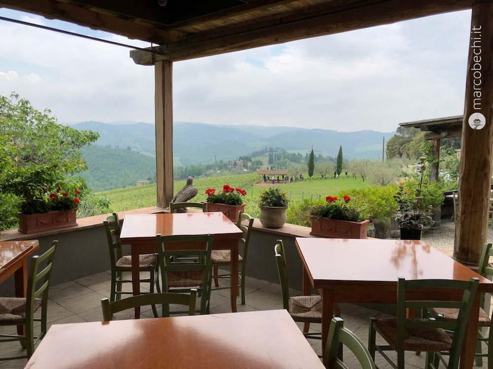 La veduta dal ristorante situato nel piccolo borgo